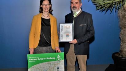 Ammer-Amper Radweg vom ADFC als Qualitätsradroute zertifiziert